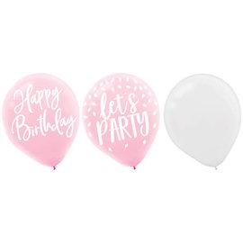 Blush Birthday Latex Balloons -15ct