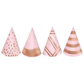 Blush Birthday Mini Cone Hats -12ct