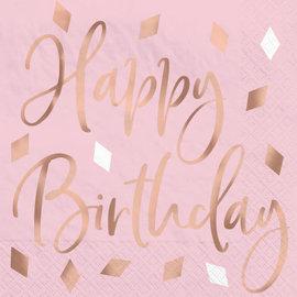 Blush Birthday Hot Stamped Beverage Napkin, 16ct