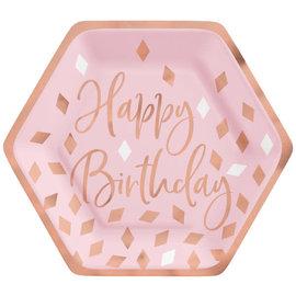 """Blush Birthday 7"""" Hexagon Plate Metallic, 8ct"""