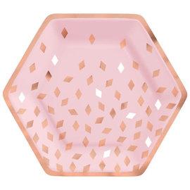 """Blush Birthday 9"""" Hexagon Plate Metallic, 8ct"""