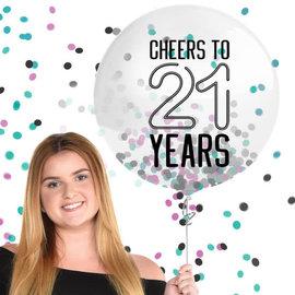 "Finally 21 Latex Balloon w/ Confetti, 24"""