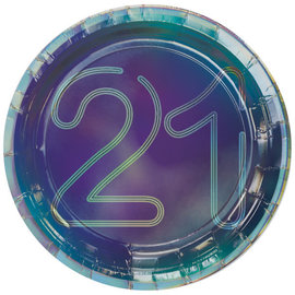 "Finally 21 7"" Round Iridescent Plate, 8ct"