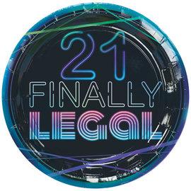 "Finally 21 9"" Round Iridescent Plate, 8ct"