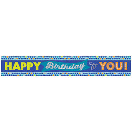True Blue Birthday Foil Banner- 12'