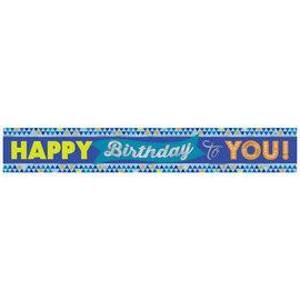 True Blue Birthday Foil Banner- 12'