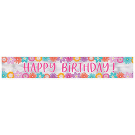 Pretty Petals Birthday Foil Banner -12'