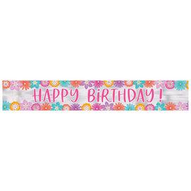 Pretty Petals Birthday Foil Banner -12'