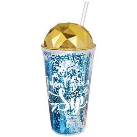 Printed Blue Glitter Straw Tumbler 16oz