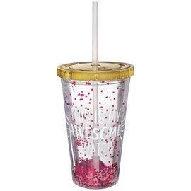 Printed Pink Glitter Straw Tumbler w/ Flat Lid, 16oz