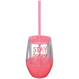 """""""Stay Fancy"""" Stemless Straw Cup, 10 oz."""