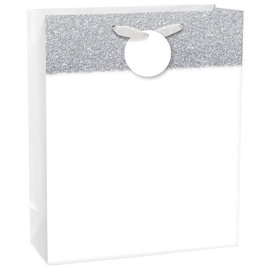 Matte Large Bag w/ Glitter Band - White, with hangtag
