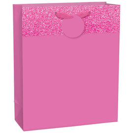 Matte Large Bag w/ Glitter Band - Bright Pink, with hangtag