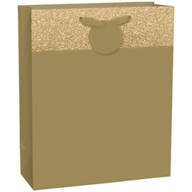 Matte Large Bag w/Glitter Band-Gold, with hangtag