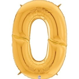 Gigaloon Gold Number 0 Shape Foil Balloon, 64""