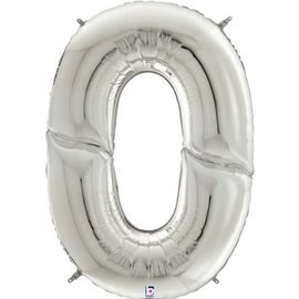 """Gigaloon Silver Number 0 Shape Foil Balloon, 64"""""""