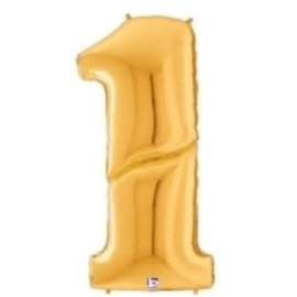 Gigaloon Gold Number 1 Shape Foil Balloon, 64""