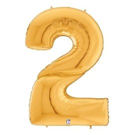 Gigaloon Gold Number 2 Shape Foil Balloon, 64""