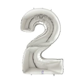 """Gigaloon Silver Number 2 Shape Foil Balloon, 64"""""""
