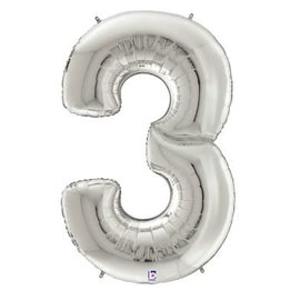 """Gigaloon Silver Number 3 Shape Foil Balloon, 64"""""""