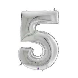 """Gigaloon Silver Number 5 Shape Foil Balloon, 64"""""""