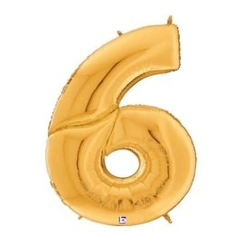 Gigaloon Gold Number 6 Shape Foil Balloon, 64""