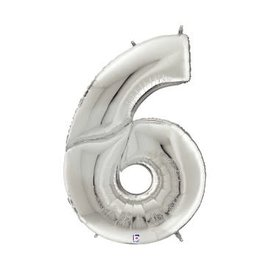 """Gigaloon Silver Number 6 Shape Foil Balloon, 64"""""""