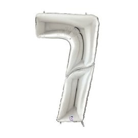 """Gigaloon Silver Number 7 Shape Foil Balloon, 64"""""""