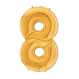 Gigaloon Gold Number 8 Shape Foil Balloon, 64""