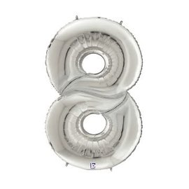 """Gigaloon Silver Number 8 Shape Foil Balloon, 64"""""""