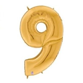 Gigaloon Gold Number 9 Shape Foil Balloon, 64""