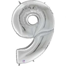 """Gigaloon Silver Number 9 Shape Foil Balloon, 64"""""""