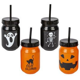 18 oz Halloween Tumbler w/Straw- Assorted