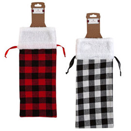 Plaid Fabric Bottle Bag With Plush Cuff
