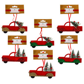 Ornament Red Truck W/tree - Assorted