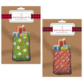 Christmas Print Gift Bag Giant w/Rope Tie -36x48in