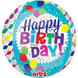 Happy Birthday Streamer Burst Orbz Balloon, 16""