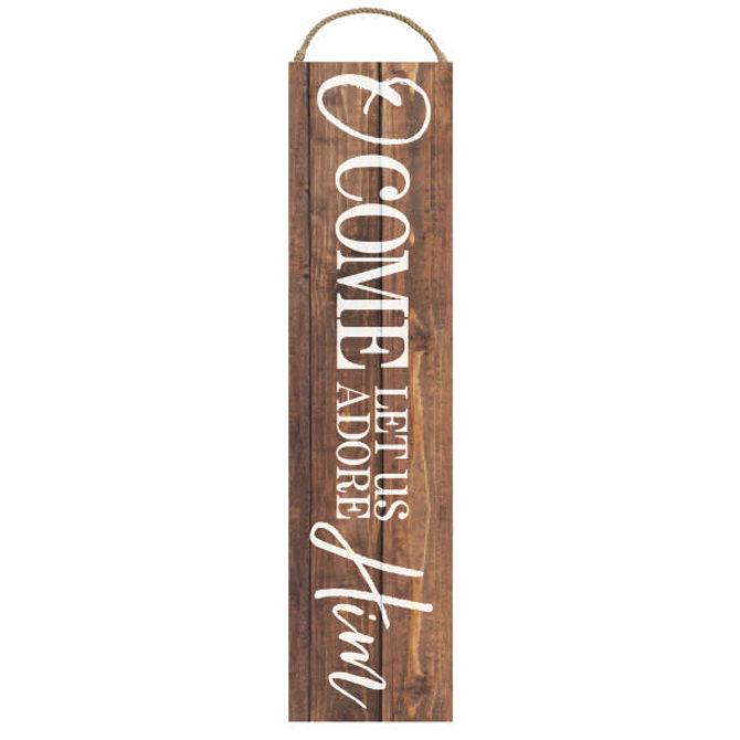 "Adore Him Wooden Plaque Sign, 2 1/4"" x 9"""