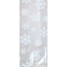 Small White Snowflake Cello Party Bags, 20 ct