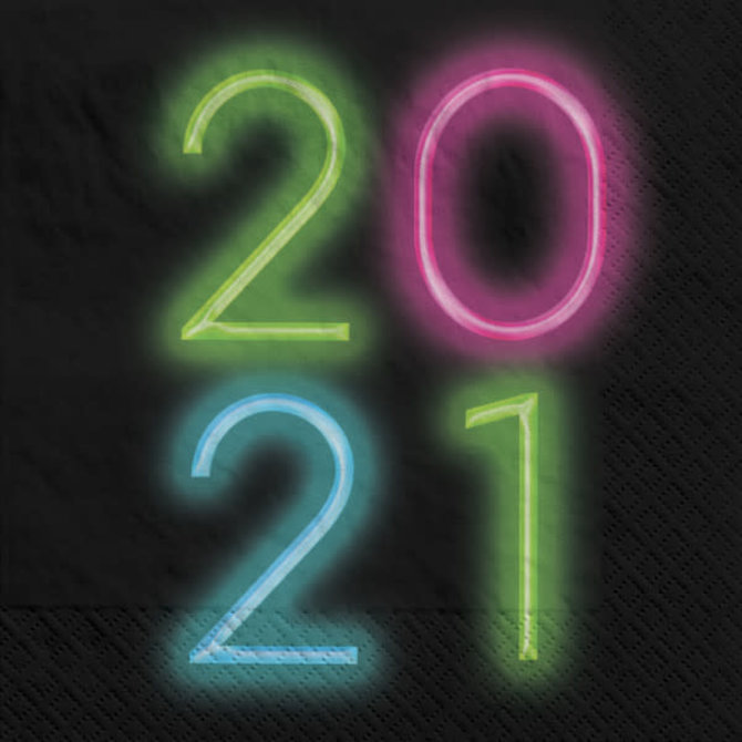 2021 New Year's Glow Luncheon Napkin, 36 ct