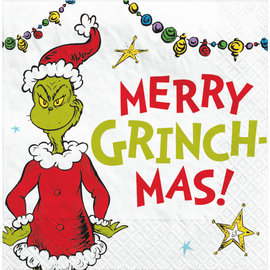 Traditional Grinch Merry Grinchmas Beverage Napkin, 16 ct