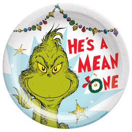 """Traditional Mean One Grinch 7"""" Round Plate, 8 ct"""