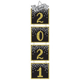 "2021 New Year's Jumbo Glitter Hanging Decoration - Black, Silver, Gold - 64 3/5"" H x 15 2/5"""