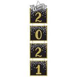 "2021 New Year's Jumbo Glitter Hanging Decoration - Black, Silver, Gold - 64 3/5"" H x 15 2/5"""
