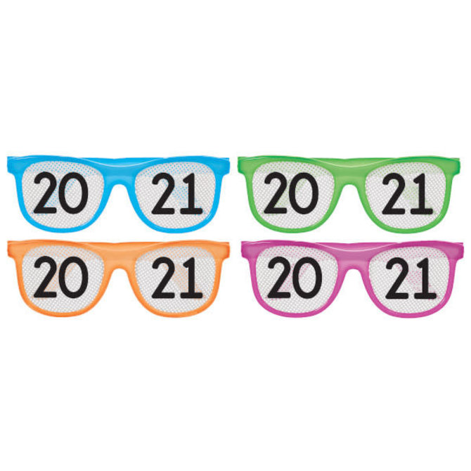 2021 New Year's Printed Glasses Multi-Pack - Neon, 8 ct