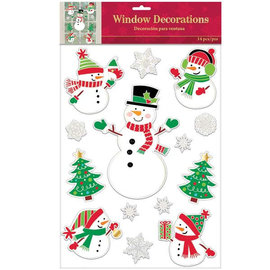 Traditional Snowman Window Decorations, 14 ct