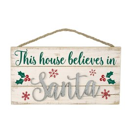 """This House Believes in Santa Hanging Wood Sign, 12"""" x 6"""""""