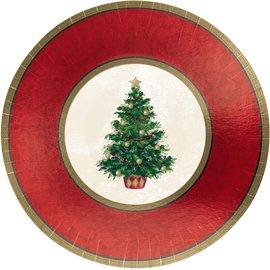"Classic Christmas Tree Metallic Plates, 7"" -8ct"
