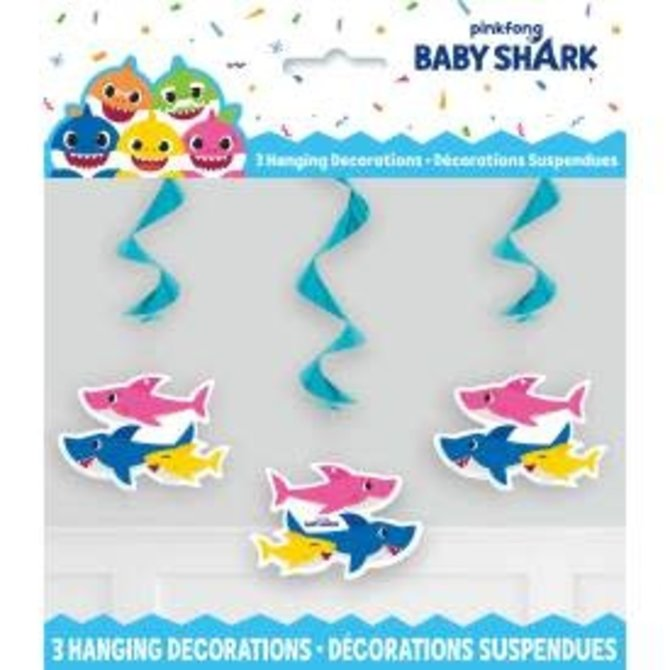 "Baby Shark Hanging Swirl Decorations, 26"", 3ct"