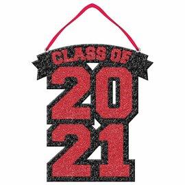 Class of 2021 Glitter Foam Sign - Red